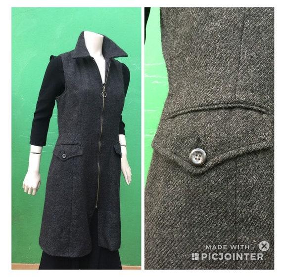 A/1 SCALLOPED Long Vest   Wool Vest   dress   Made