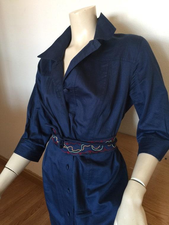 CHEMISIER COTTON DRESS Vintage Dress Blue chemisi… - image 5