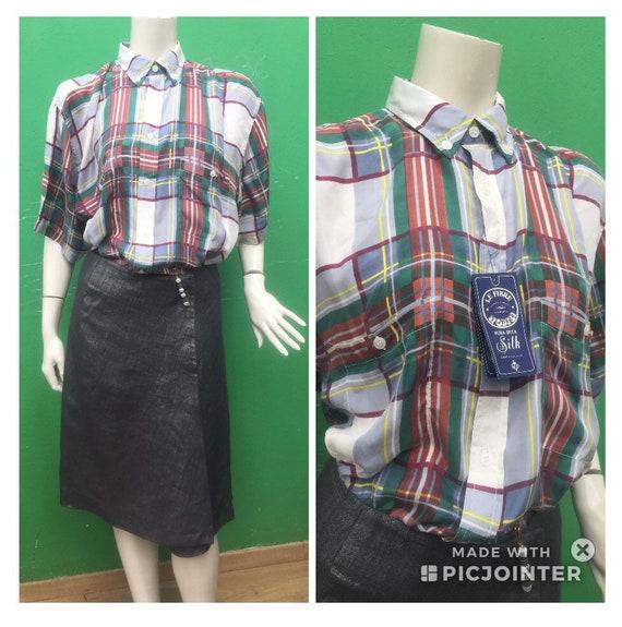DEADSTOCK SILK T-SHIRT | Plaid silk shirt | Vintag