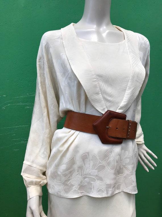 A/1 CREAM SILK SHIRT | 80s Vintage Broccato Silk … - image 4