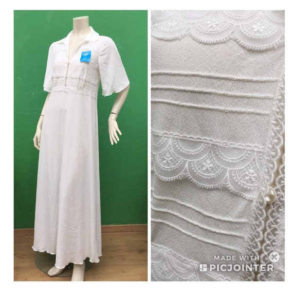 DEADSTOCK Long NIGHT SHIRT Vintage White dress in