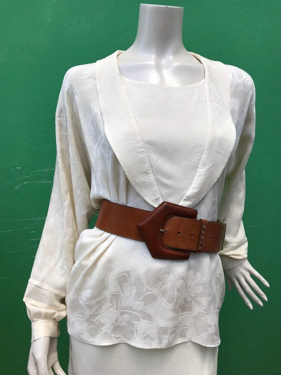 A/1 CREAM SILK SHIRT | 80s Vintage Broccato Silk … - image 7