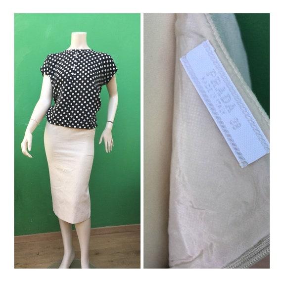 PRADA LINEN SKIRT Natural Skirt Vintage skirt Tigh