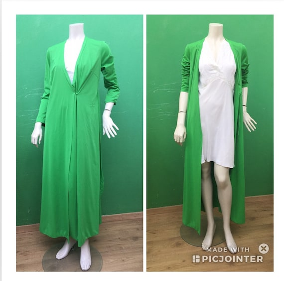 KIMONO DRESSING GOWN Green dressing gown vintage L