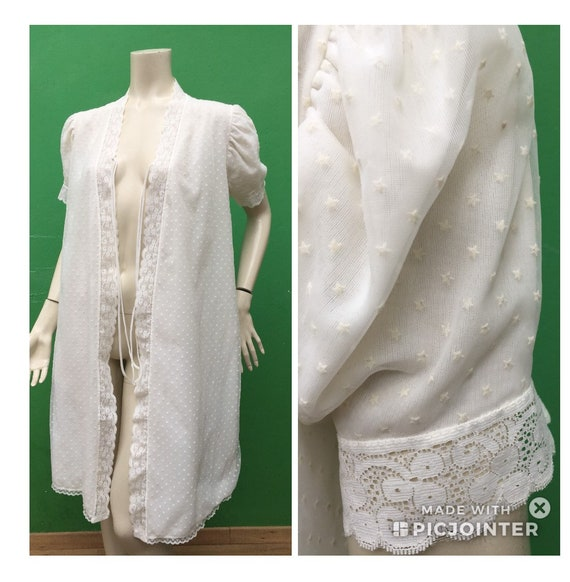 VINTAGE ROBE Robe with stars Dressing Gown | White