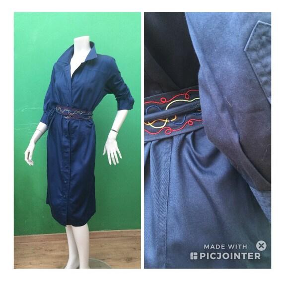 CHEMISIER COTTON DRESS Vintage Dress Blue chemisi… - image 1