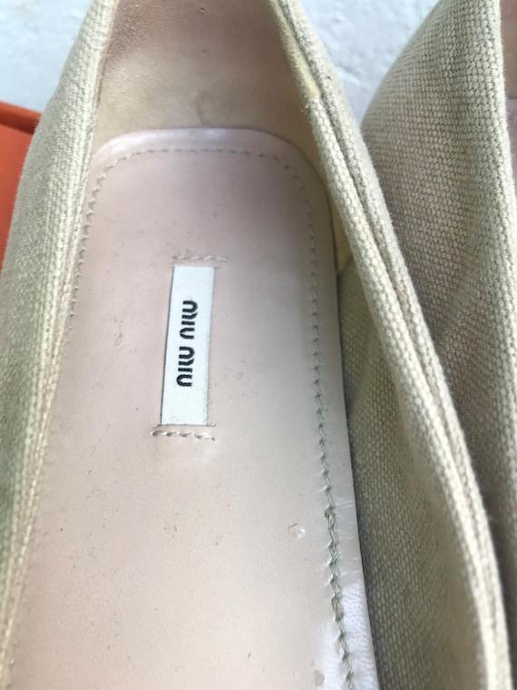 MIU MIU CANVAS Flat Low shoes jeweled Miu Miu Jew… - image 6
