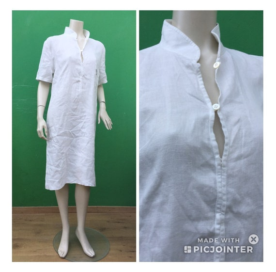 LINEN WHITE DRESS | Long white linen dress | Small