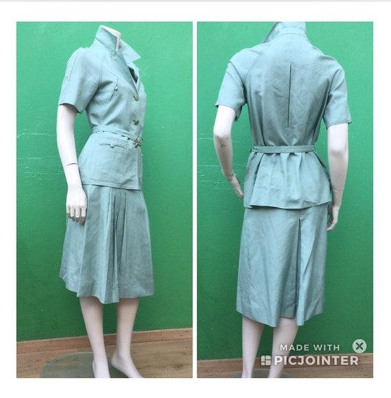 70s Safari LINEN VINTAGE SET Vintage Green linen s