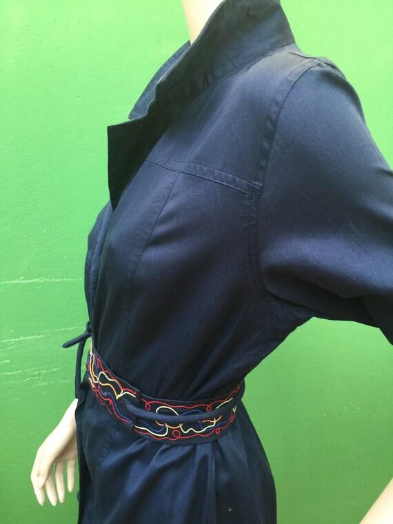 CHEMISIER COTTON DRESS Vintage Dress Blue chemisi… - image 10