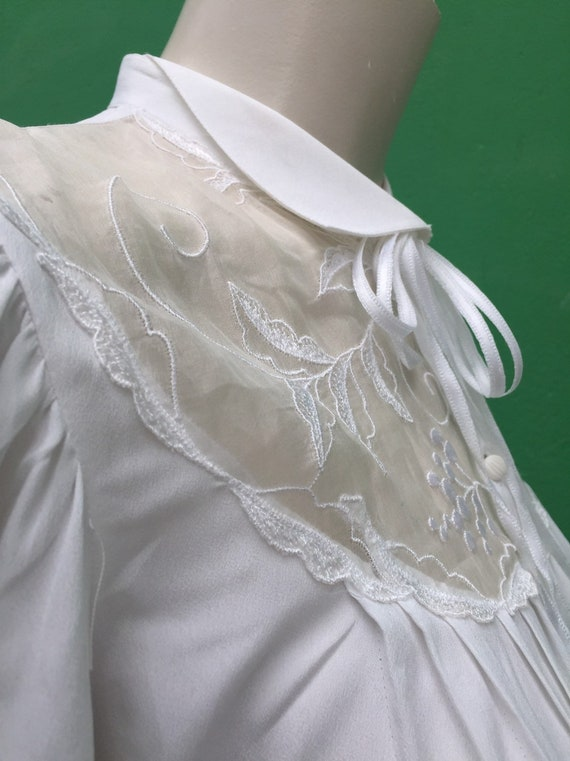 A/1 LACE EMBROIDERED BLOUSE White vintage puffed s
