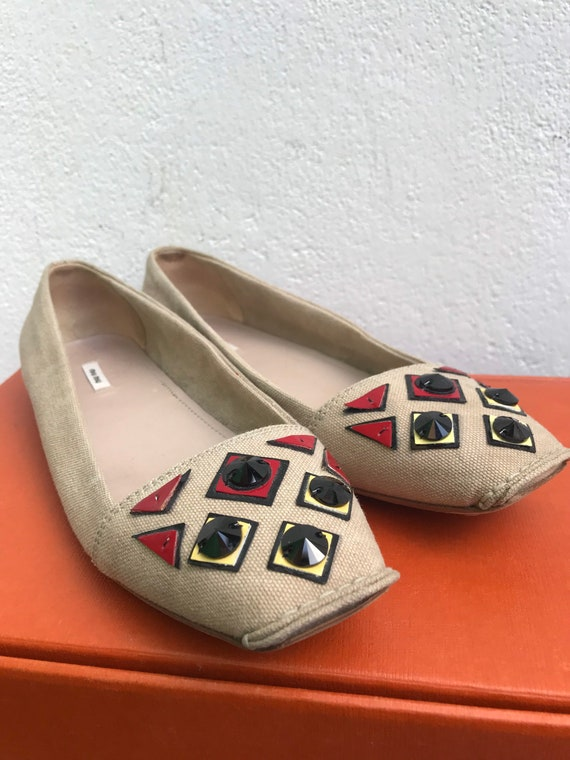 MIU MIU CANVAS Flat Low shoes jeweled Miu Miu Jew… - image 7
