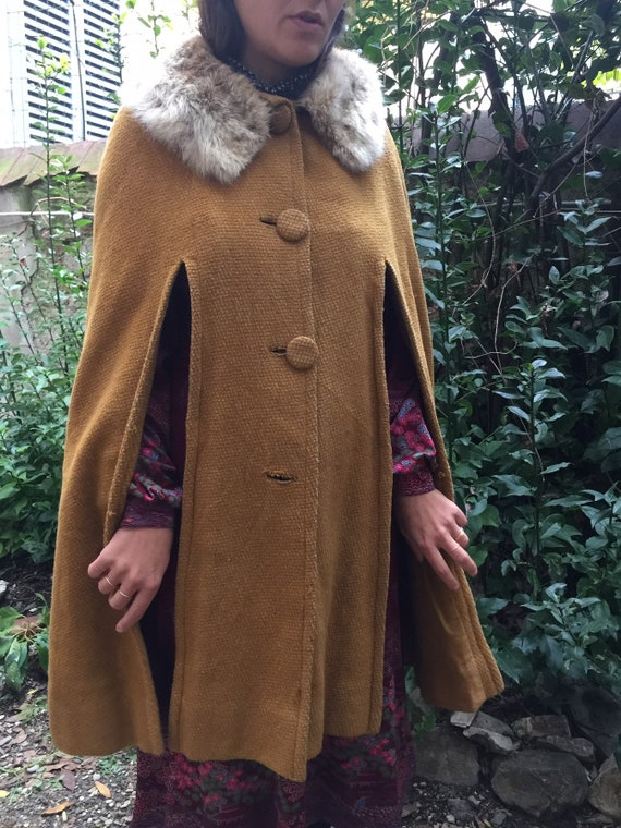 Wool cape 60s WOOL VINTAGE CAPE Fashion wool cape