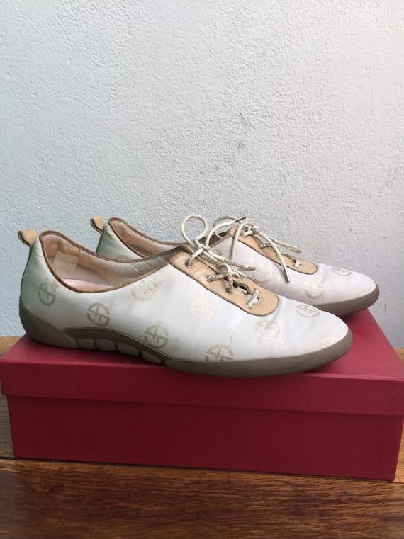 GIORGIO ARMANI SHOES   Vintage trainer leather sho