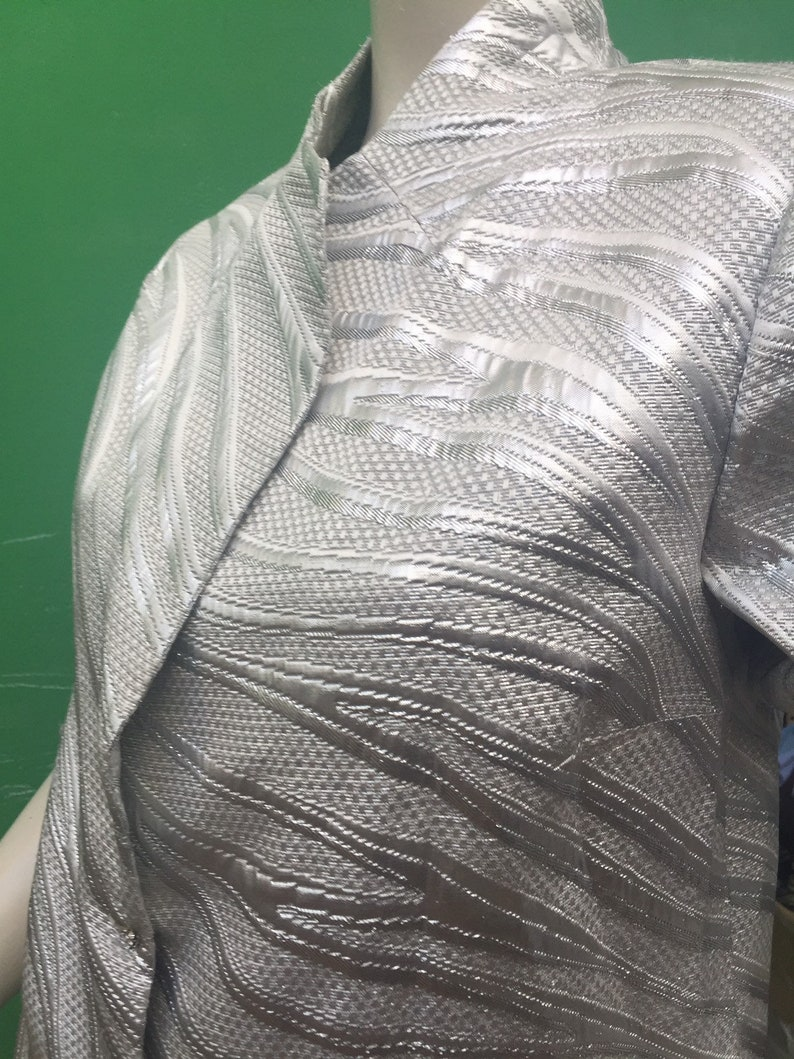 LUREX BROCCATO SILVER Jacket 90s Sartorial Jacket Silver lurex jacket Vintage silver jacket