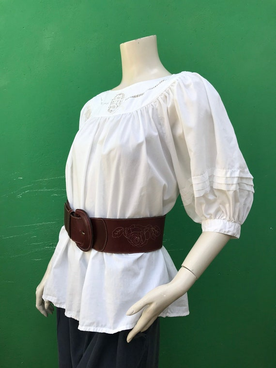 COTTON WHITE EMBROIDERED Blouse Bohemian Embroider