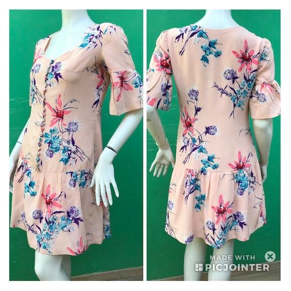 Tailoring FLORAL SILK DRESS   Vintage floral silk