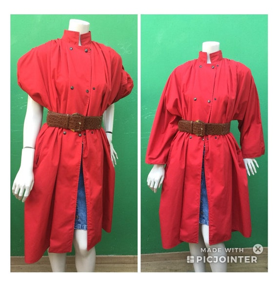 RED VINTAGE TRENCH COAT Fashion cotton trench coat