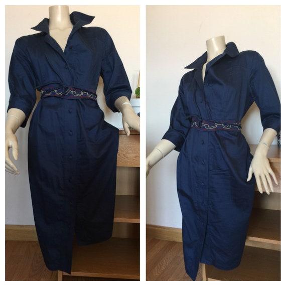 CHEMISIER COTTON DRESS Vintage Dress Blue chemisi… - image 4