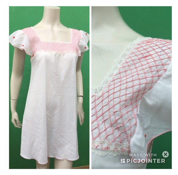 Handmade EMBROIDERED COTTON NIGHTGOWN Vintage nigh