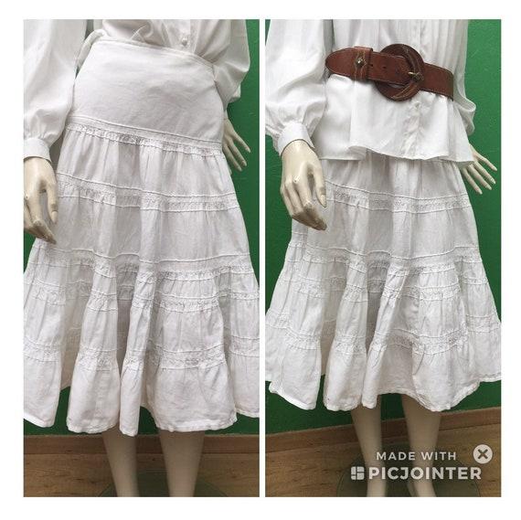 WHITE COTTON SKIRT Long flounced skirt White cotto