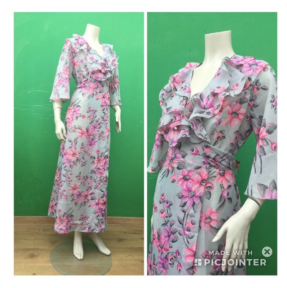 Long FLORAL DRESSING GOWN 70s dressing gown Long d
