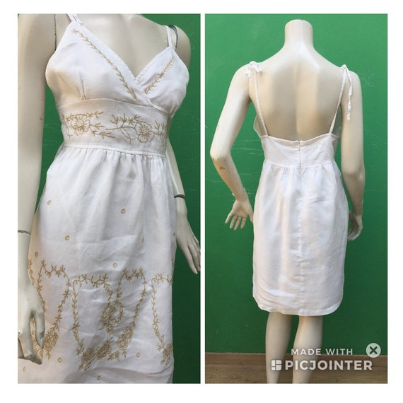 COTTON EMBROIDERED DRESS Sexy cotton dress Linen e