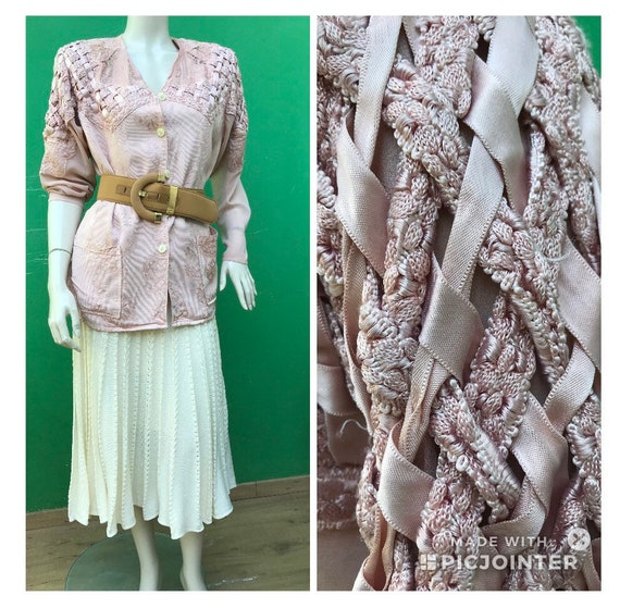 LUXURY BLAZER BOLERO Embroidered antique pink blaz