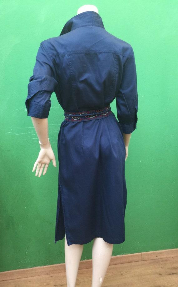 CHEMISIER COTTON DRESS Vintage Dress Blue chemisi… - image 9