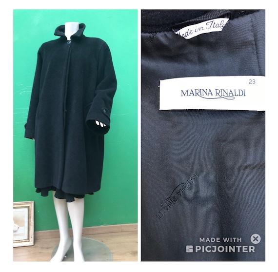 BLACK CASCHEMIRE COAT Marina Rinaldi Wool coat Lux