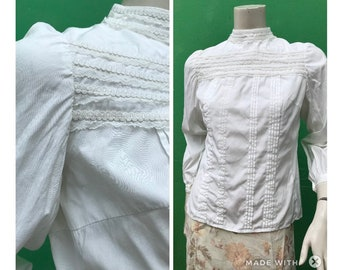 ANCIEN white sartorial blouse  Handmade Embroidered blouse   Fashion ancient blouse   White Blouse
