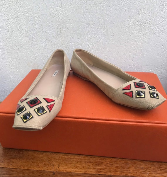MIU MIU CANVAS Flat Low shoes jeweled Miu Miu Jew… - image 1