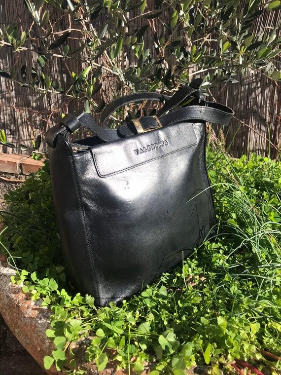 LEATHER VINTAGE BUCKET Valentina black leather buc