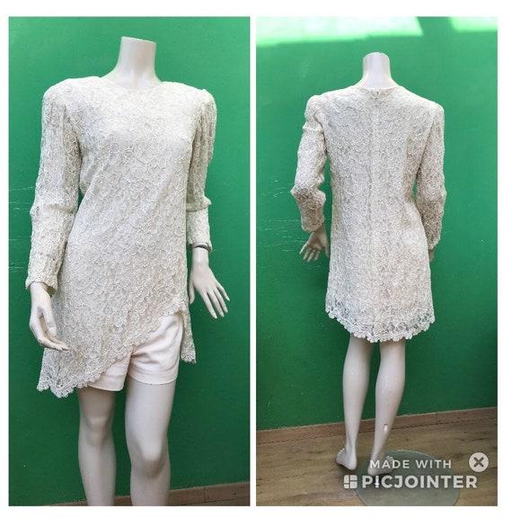 LACE MINI DRESS Fashion cream Lace Mini dress Long
