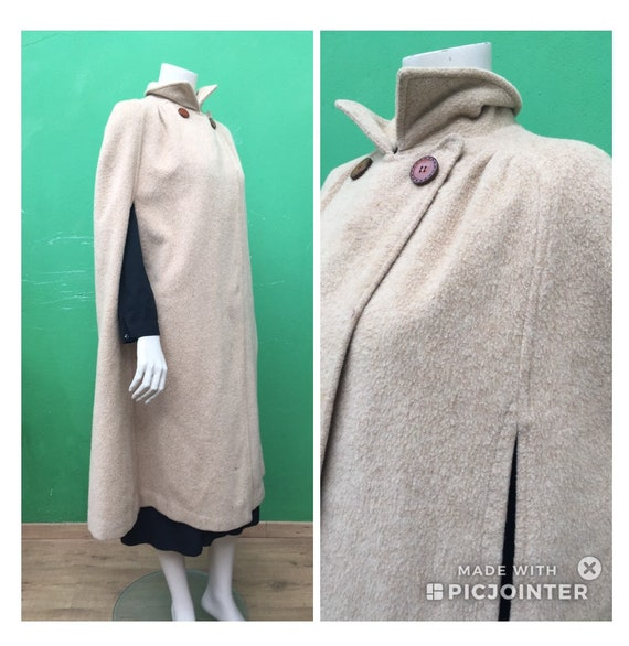 FASHION WOOL CAPE Beige wool cape Wool tailoring c