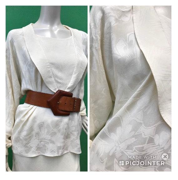 A/1 CREAM SILK SHIRT | 80s Vintage Broccato Silk … - image 1