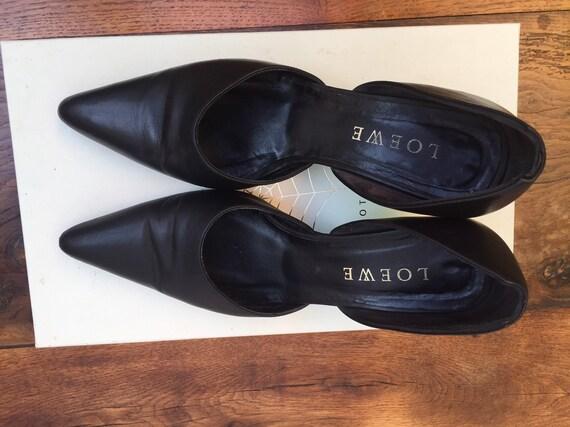 LOEWE LEATHER SHOES Vintage leather shoes Black le