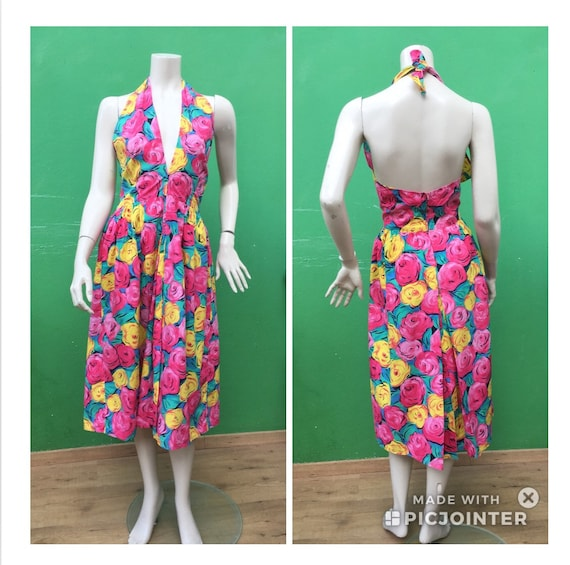 Sleeveless cotton floral dress .80s FLORAL COTTON