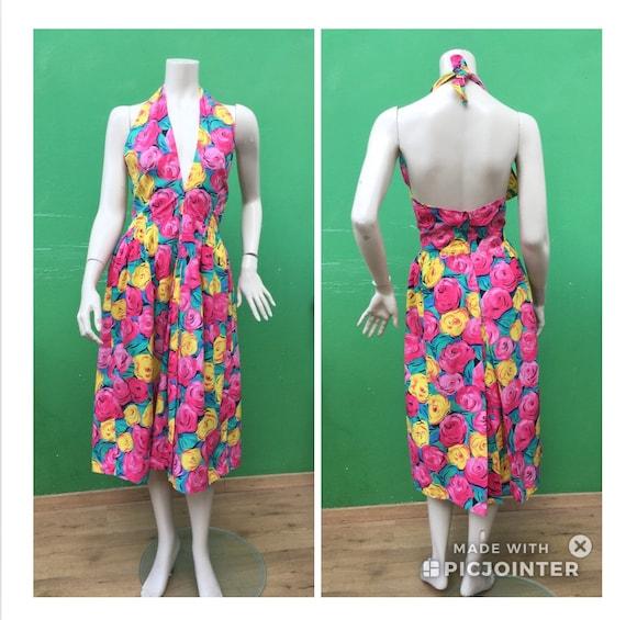 Sleeveless cotton floral dress .80s FLORAL COTTON