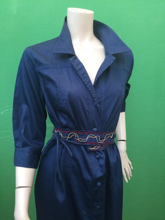 CHEMISIER COTTON DRESS Vintage Dress Blue chemisi… - image 2