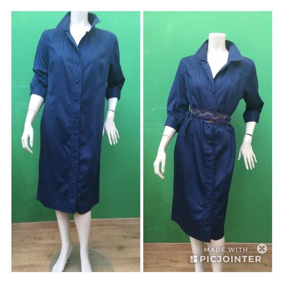 CHEMISIER COTTON DRESS Vintage Dress Blue chemisi… - image 8