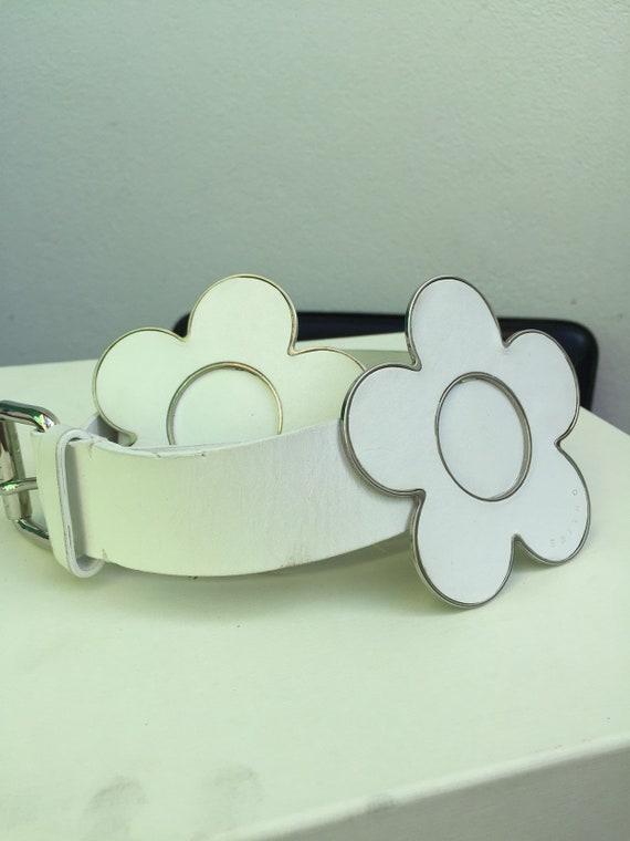 CELINE LEATHER BELT 80s leather silver belt white
