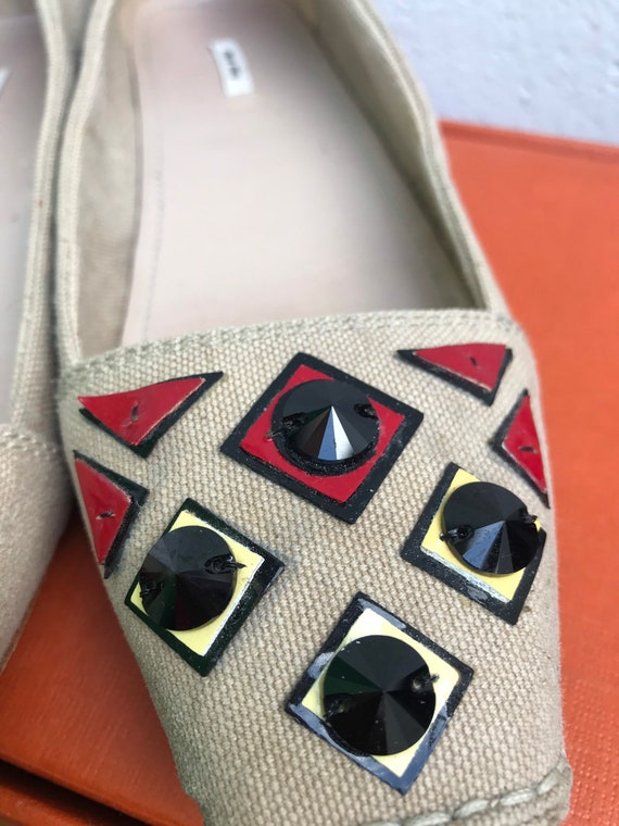 MIU MIU CANVAS Flat Low shoes jeweled Miu Miu Jew… - image 8