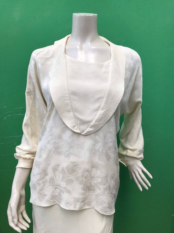 A/1 CREAM SILK SHIRT | 80s Vintage Broccato Silk … - image 3