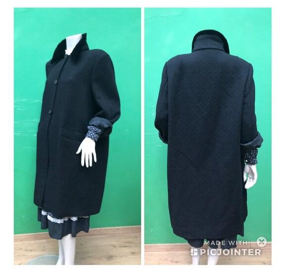 BROCADE WOOL OVERCOAT Black wool coat Fashion broc