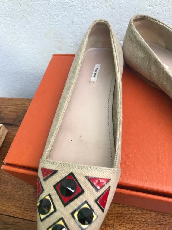MIU MIU CANVAS Flat Low shoes jeweled Miu Miu Jew… - image 5