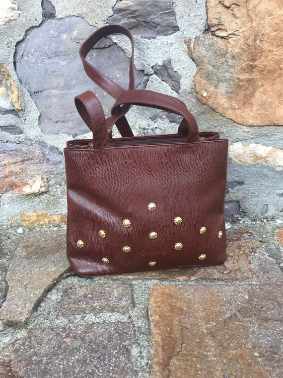 UNGARO LEATHER SHOULDERBAG Vintage Brown fashion U