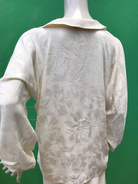 A/1 CREAM SILK SHIRT | 80s Vintage Broccato Silk … - image 10