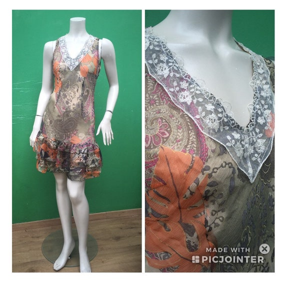 SILK FLORAL DRESS Floral tailoring dress Handmade