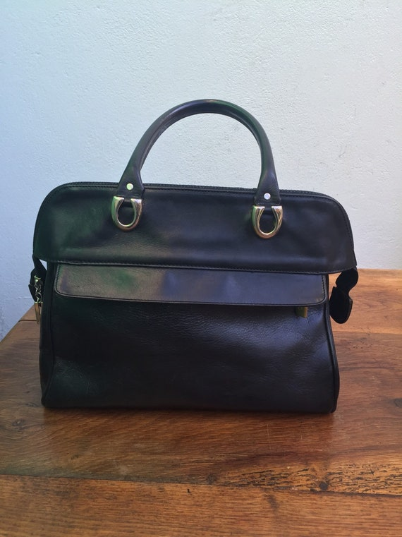 BLACK LEATHER HANDBAG | Vintage leather handbag |
